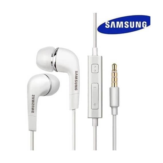 This is a white Samsung Earphone