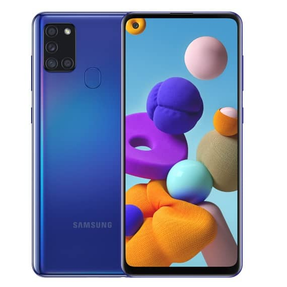 This is a blue Samsung Galaxy A21s