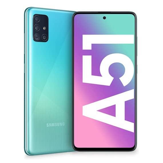 This is a blue Samsung Galaxy A51