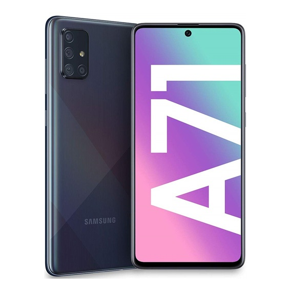 This is a Black Samsung Galaxy A71