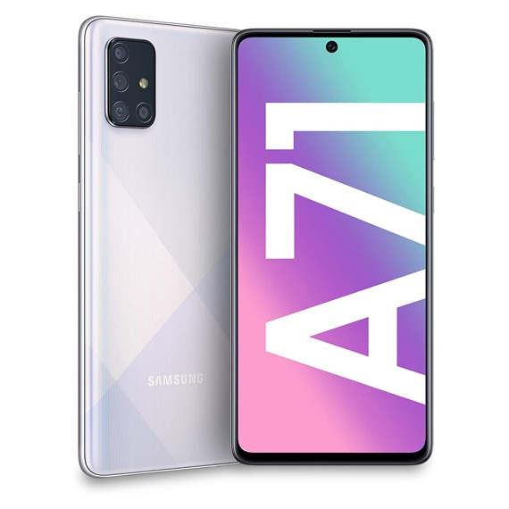 This is a silver Samsung Galaxy A71