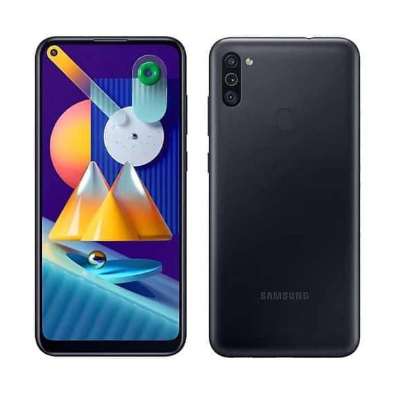 This is a black Samsung Galaxy M11