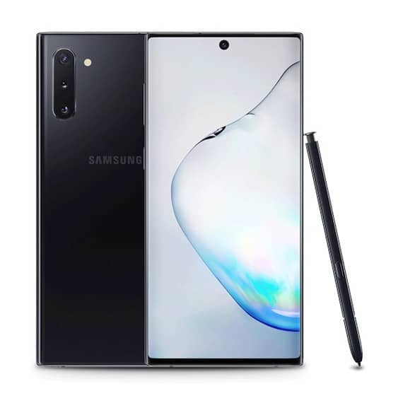 This is a black Samsung Galaxy Note 10