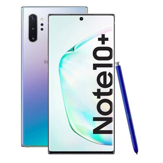 This is a red Samsung Galaxy Note 10 Plus Smartphone