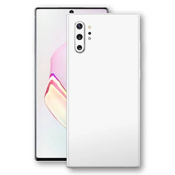 This is a white Samsung Galaxy Note 10 Plus Smartphone