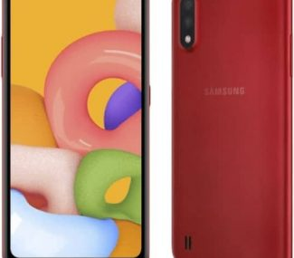This is a red Samsung Galaxy A01